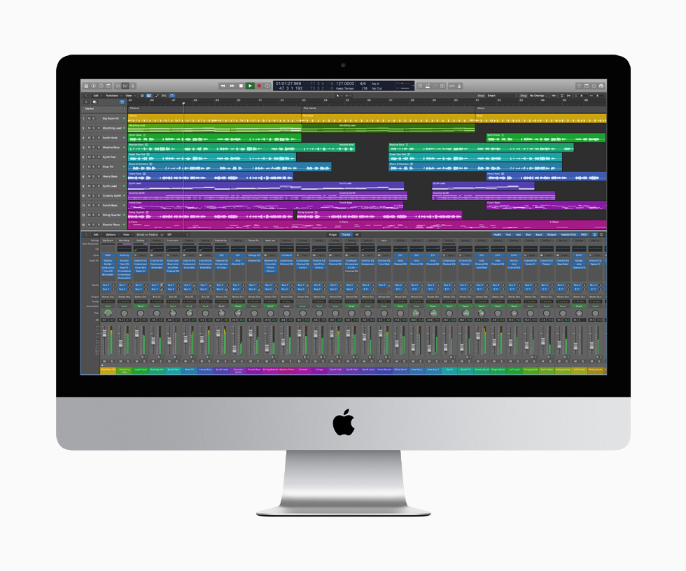Logic Pro X displayed on the 27-inch iMac.
