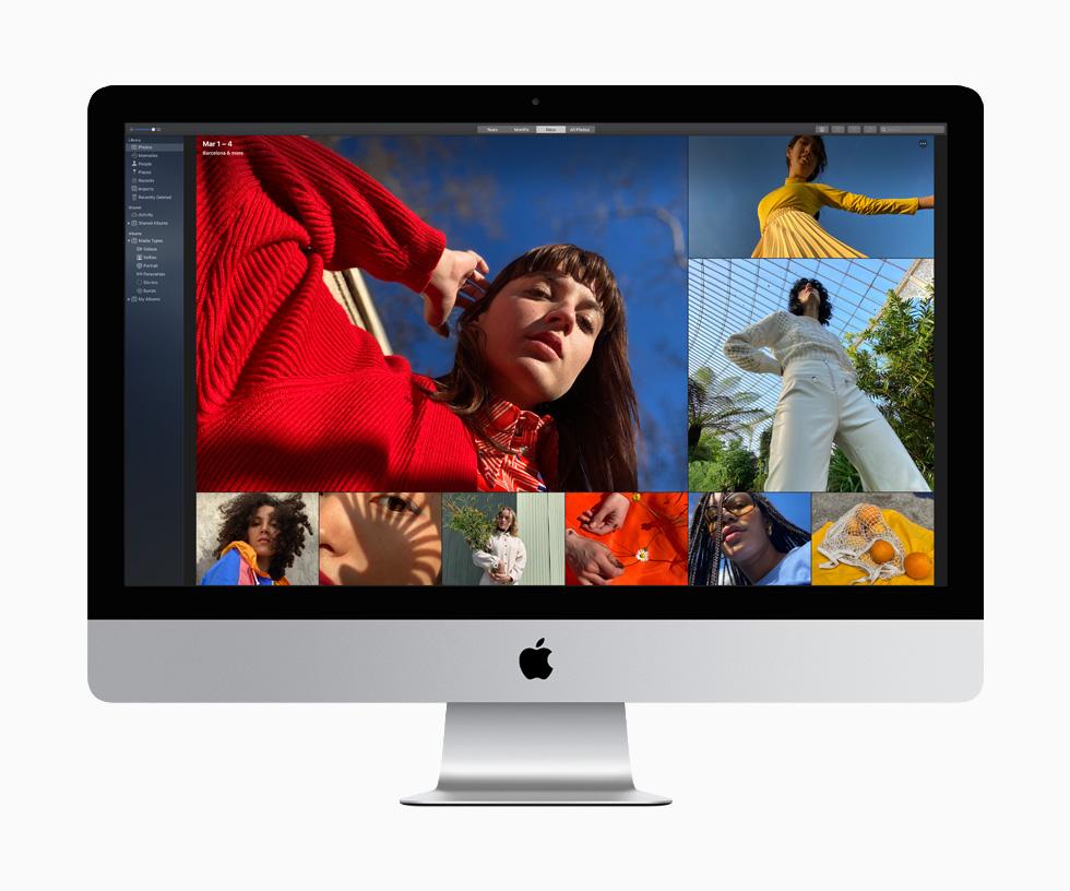 Dos mujeres, una con suéter y blusa roja y otra con un top amarillo y falda plisada, entre nueve fotos llenas de color, que demuestran la vibrante calidad de imagen de la iMac de 27 pulgadas.