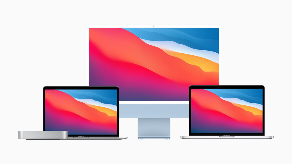 The Mac family, featuring the new iMac, MacBook Air, 13-inch MacBook Pro, and Mac mini.