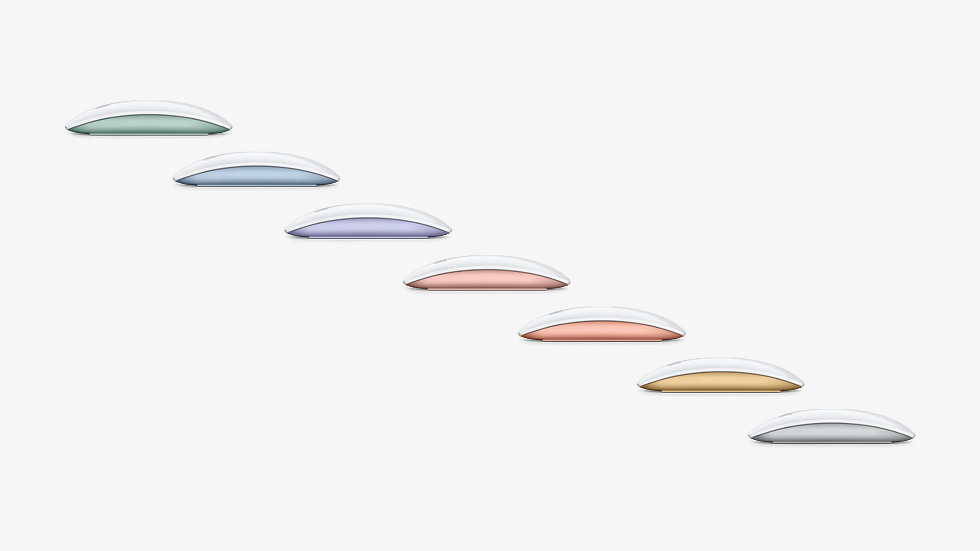 Color-matched Magic Mouse, featured in seven colors.