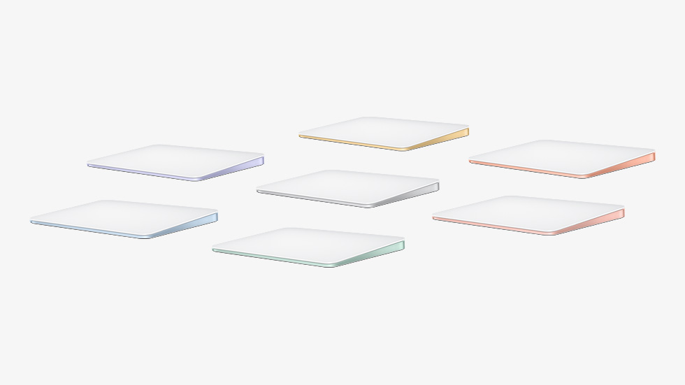Colour-matched Magic Trackpad, featured in seven colors.