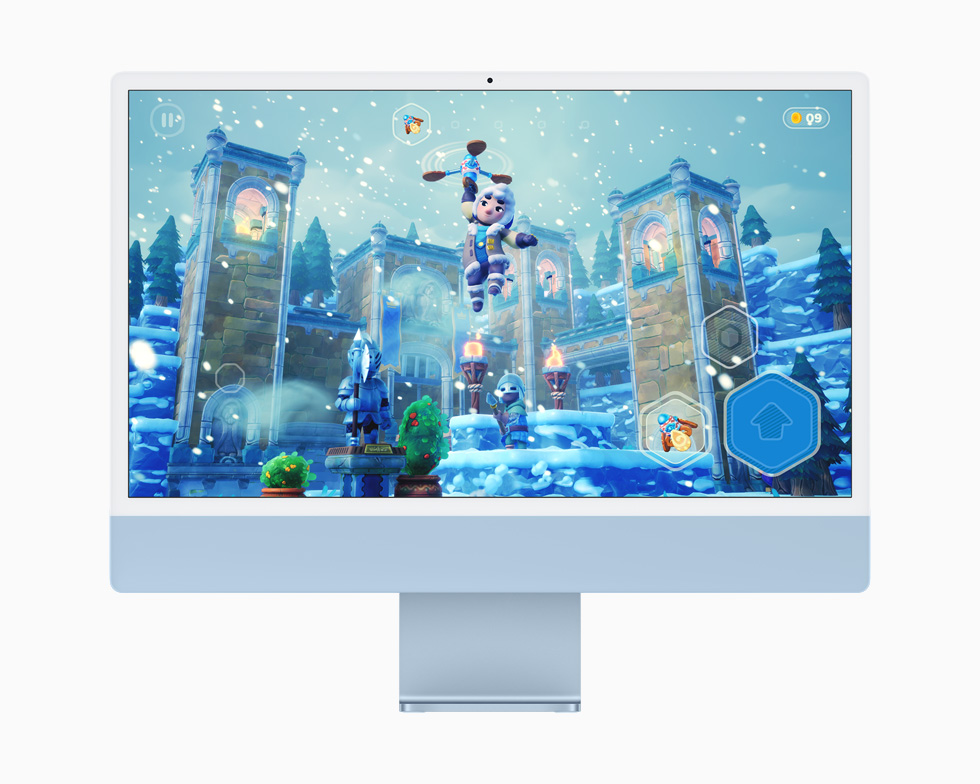 A game on Apple Arcade, displayed on a blue iMac.