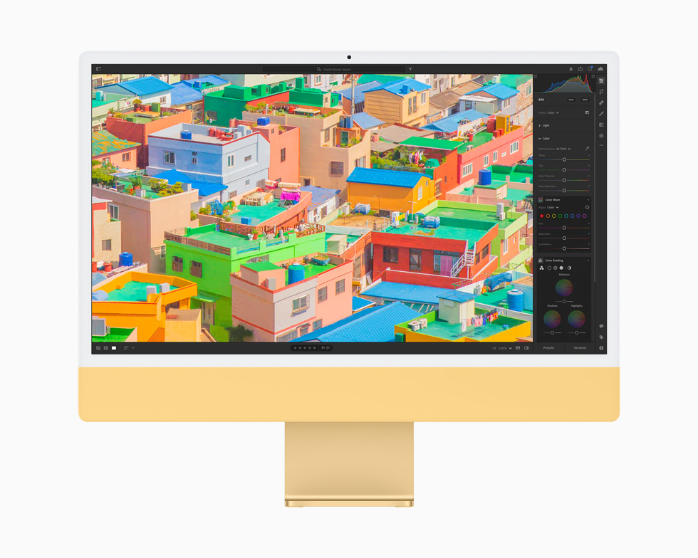 A photo is edited using the Photos app, displayed on a yellow iMac.
