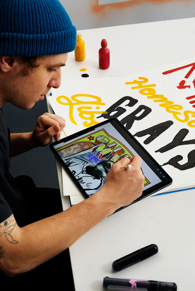 "Eric ""Efdot"" Friedensohn illustrating a Josh Gibson baseball card using Apple Pencil on iPad Pro."