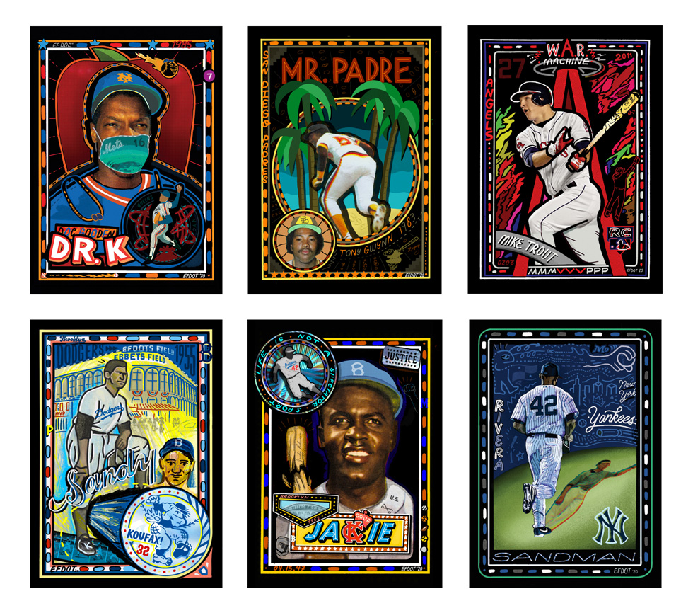 """A collection of Eric """"Efdot"""" Friedensohn's Topps Project 2020 baseball cards."""