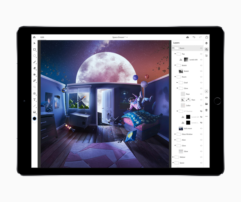 An iPad screen showing the Photoshop CC editing window.