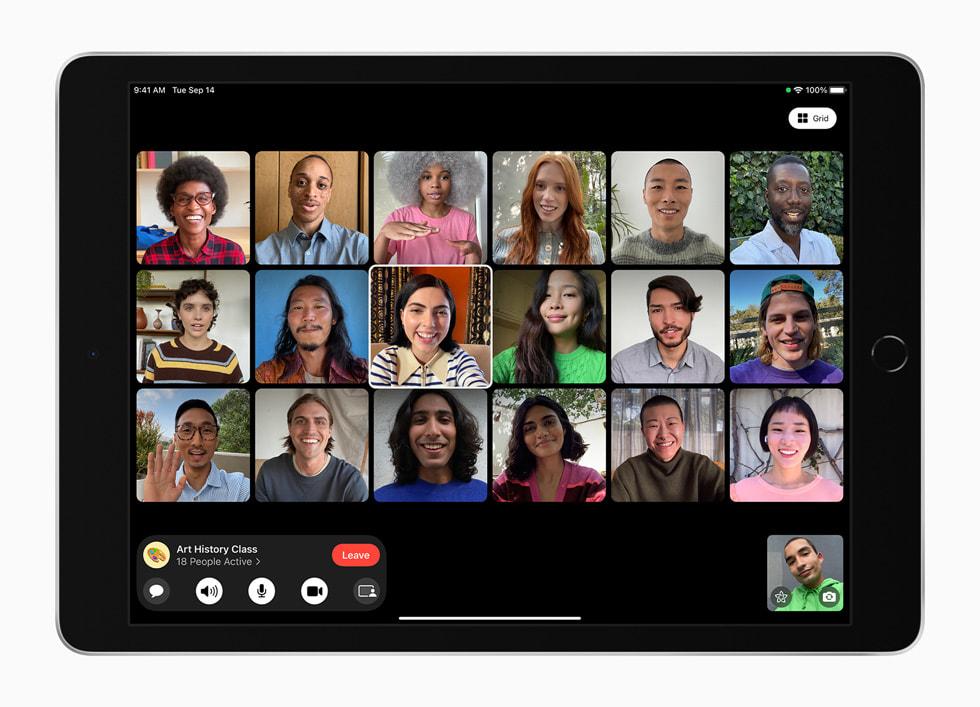 Ett FaceTime-gruppsamtal visas på nya iPad.