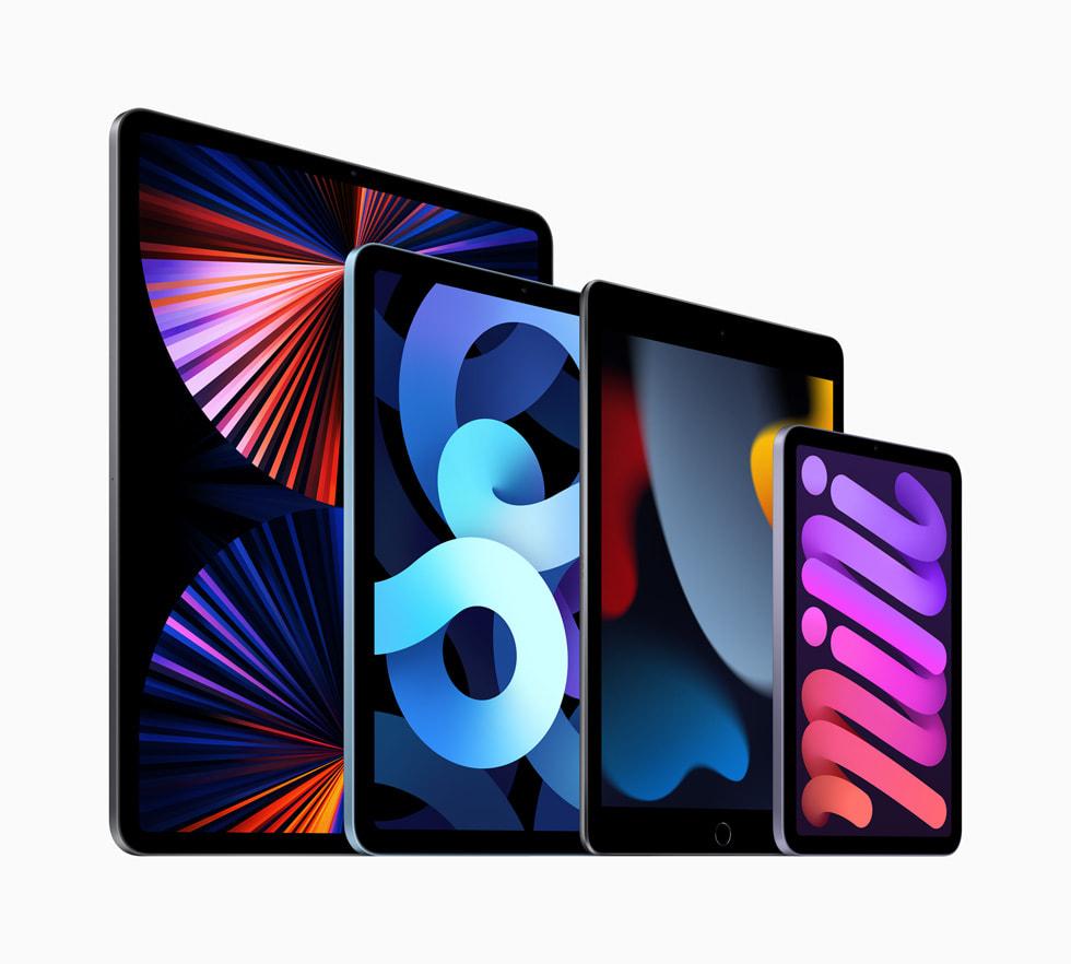 Hela iPad-kollektionen med nya iPad, iPadPro, nya iPadmini och iPadAir.