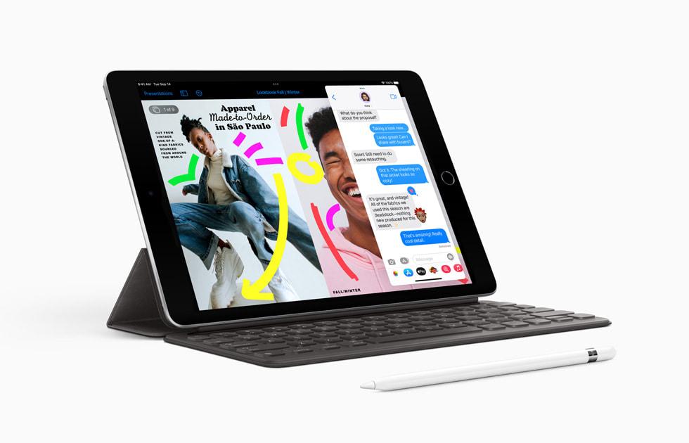 Nya iPad med ApplePencil (första generationen) och SmartKeyboard.