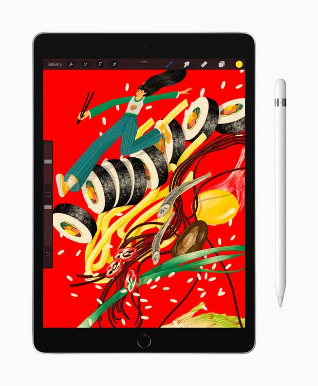 En teckning visas på nya iPad med ApplePencil.