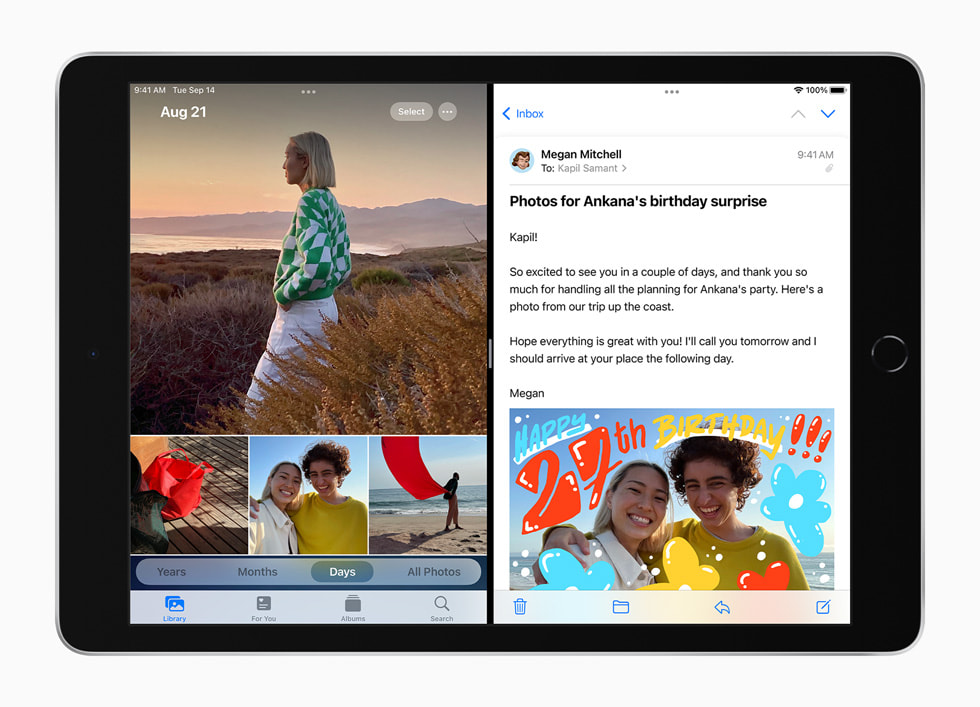 Apparna Anteckningar och Mail visas i SplitView på nya iPad.