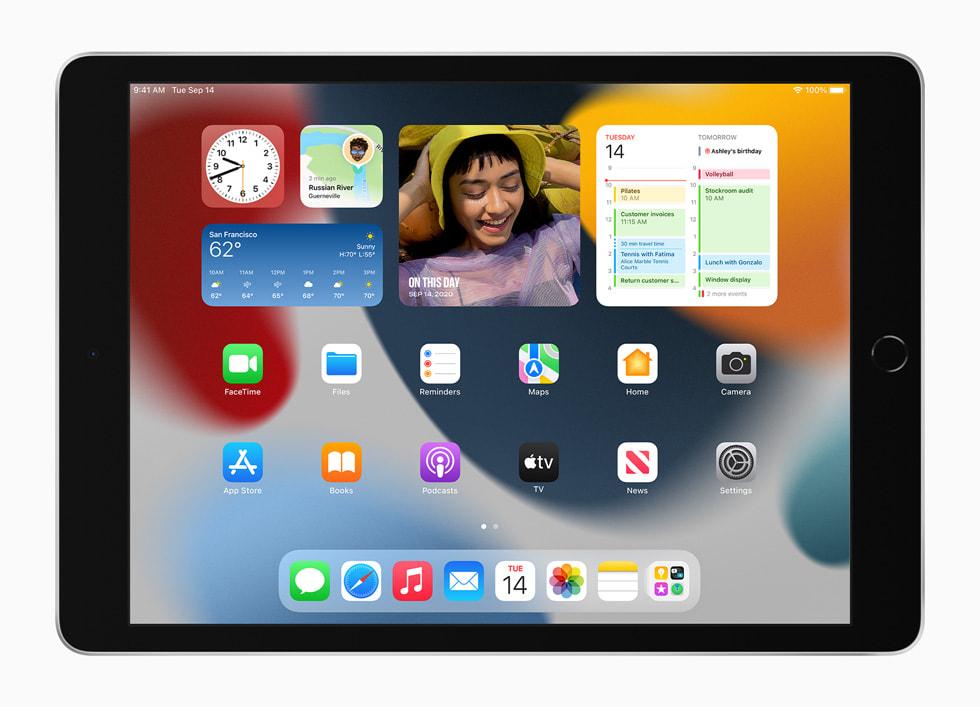 Hemskärmens nya widgetar visas på nya iPad.
