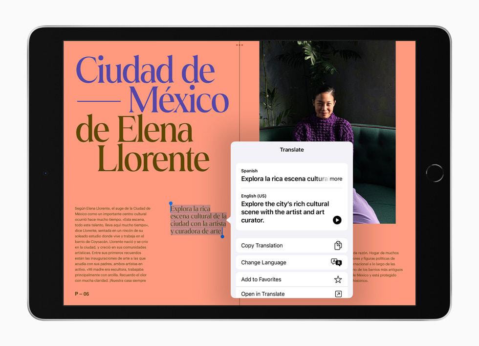 Översätt visas på nya iPad.