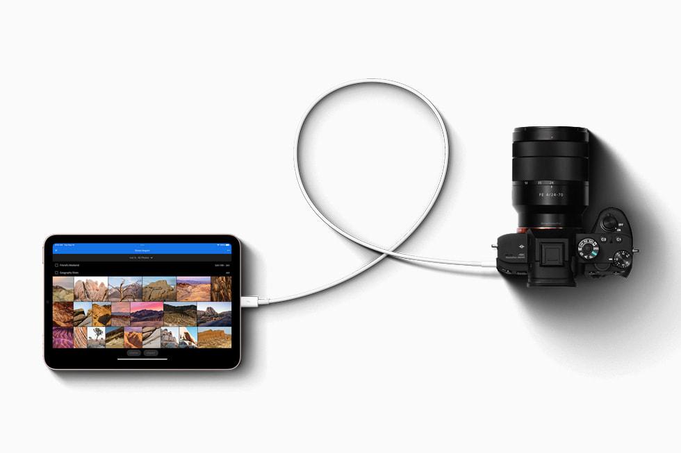 A USB-C-connected camera with iPad mini.
