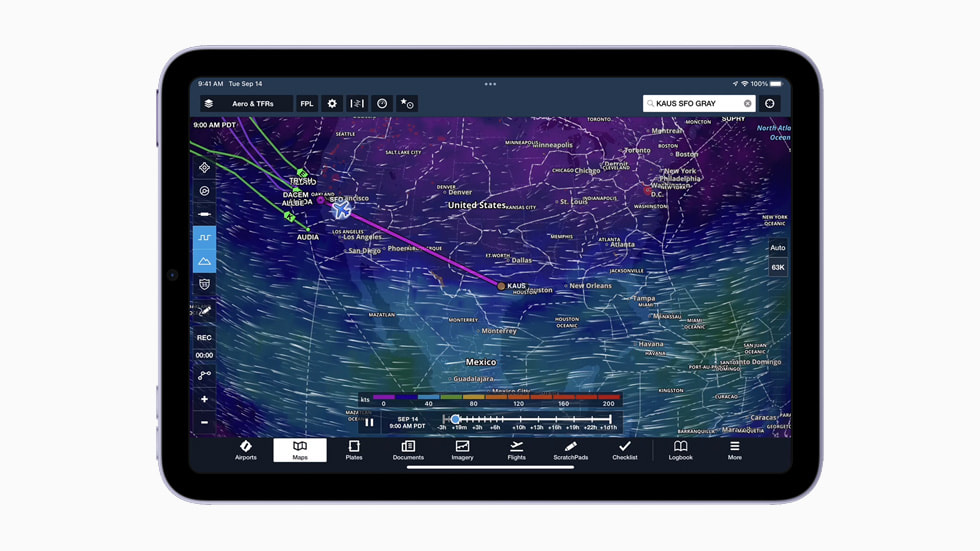 Flight maps displayed on the new iPad mini.