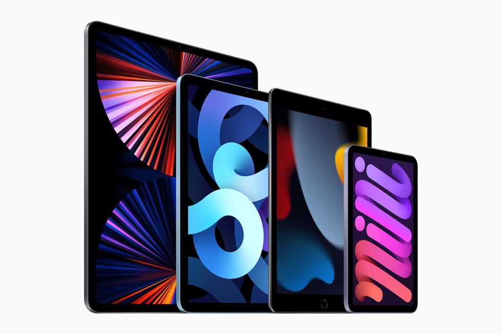 The iPad lineup, featuring iPadPro, iPad, iPadAir, and iPadmini.