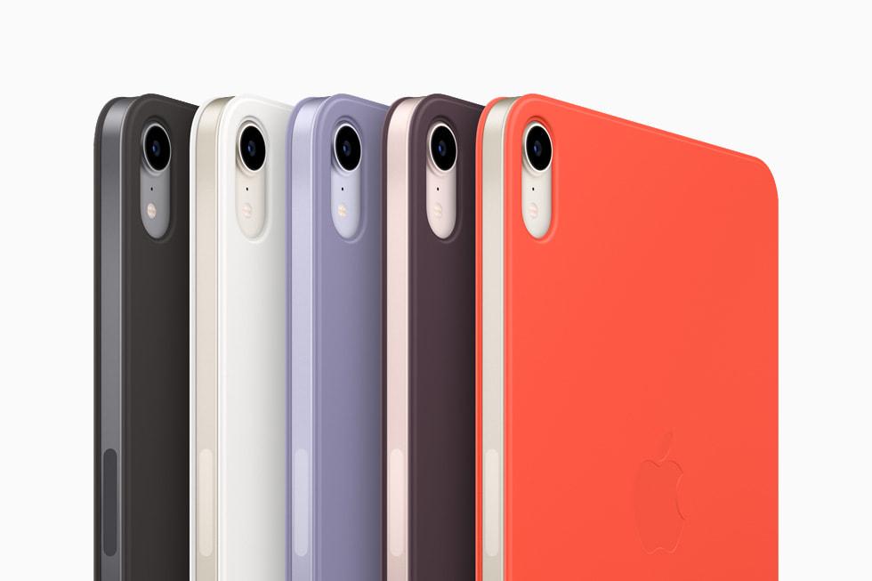 The new SmartFolio for iPadmini in black, white, dark cherry, English lavender, and electric orange.