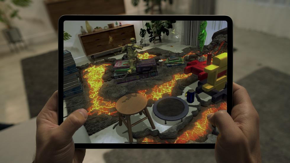 iPad Pro 上的《Hot Lava》Apple Arcade 遊戲。