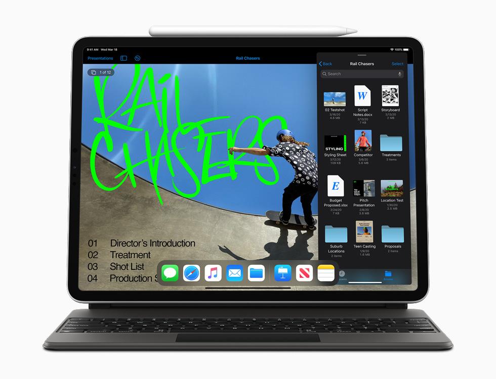 Новый iPad Pro с волшебной клавиатурой и Apple Pencil.