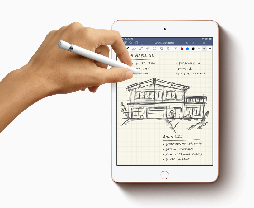 iPad mini with Apple Pencil draft architecture notes.