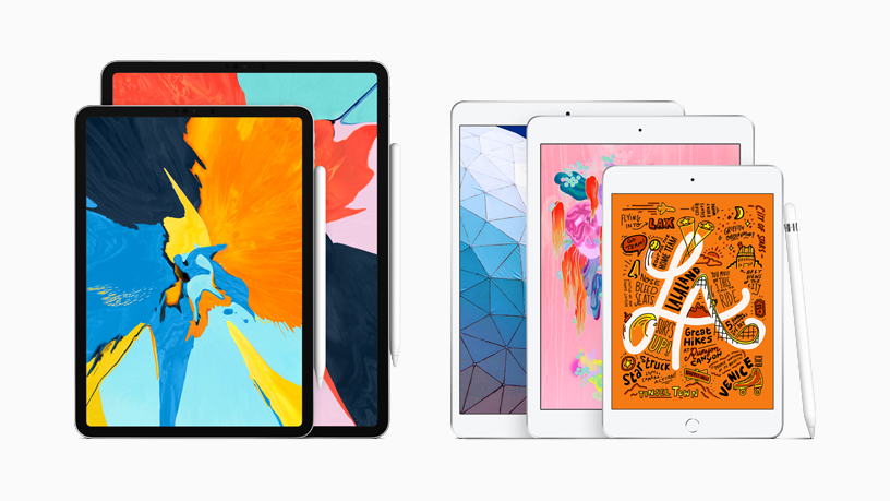 The iPad family with Apple Pencil.