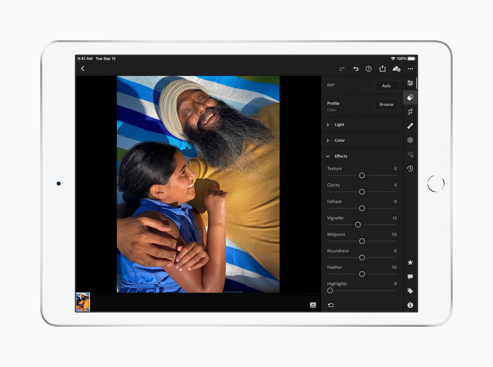 La retouche d'images sur iPad avec Adobe Lightroom.