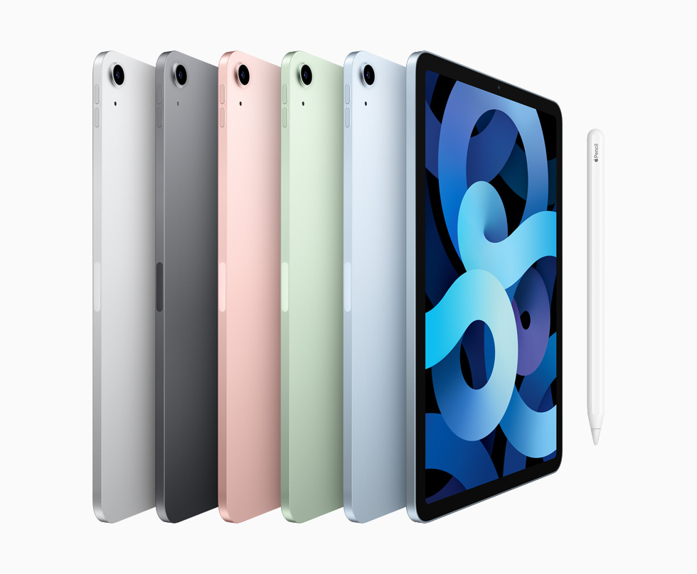 iPad Air models in silver, space grey, rose gold, green, and sky blue.