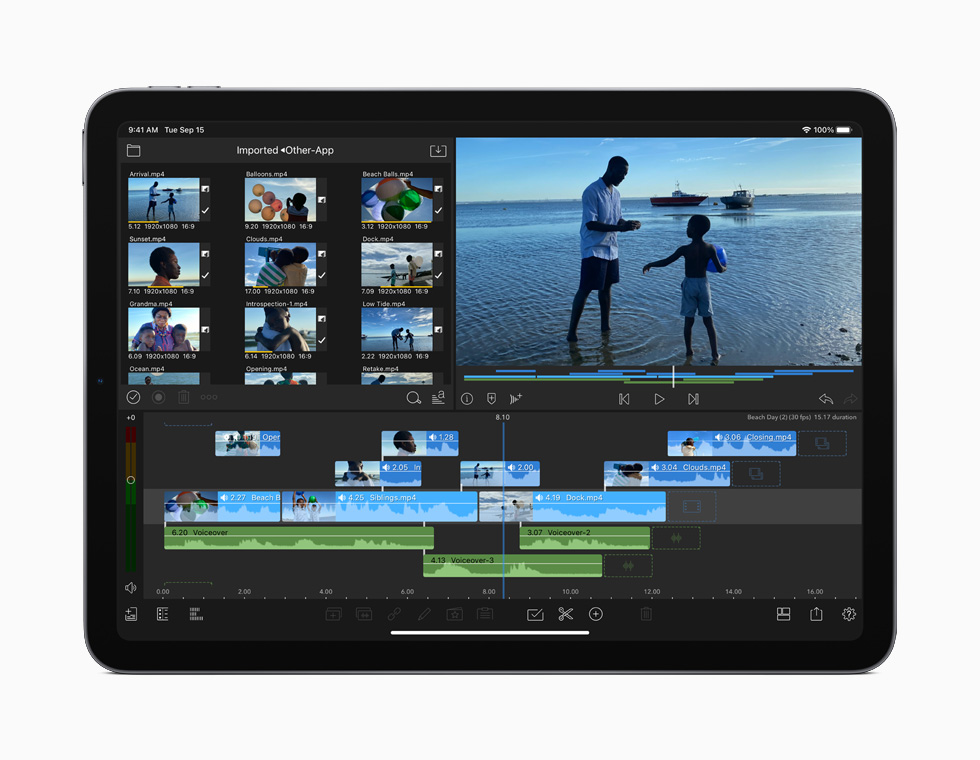 A screen displaying 4K video editing on iPad Air.