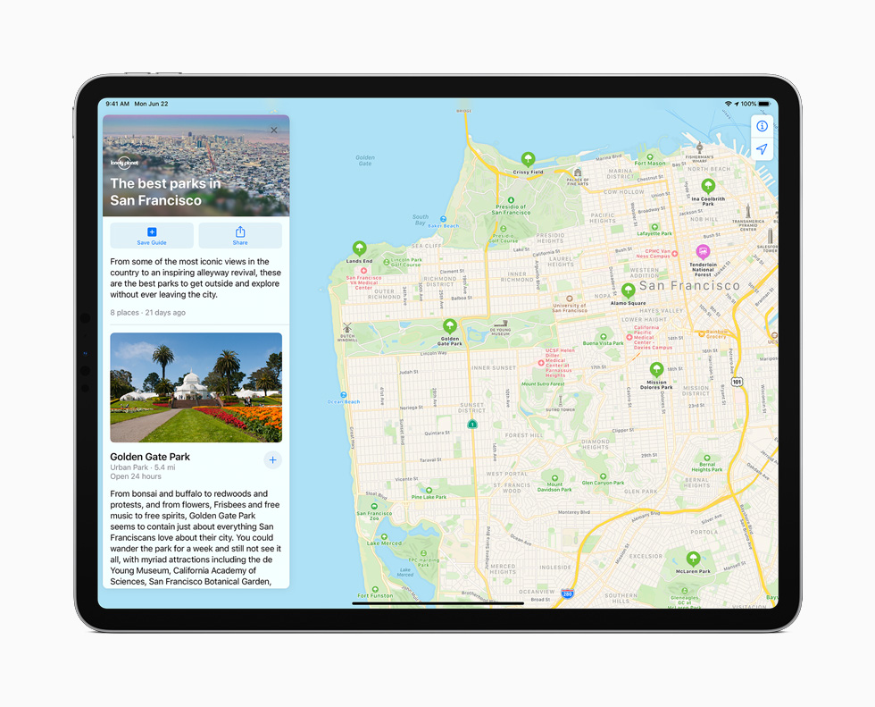 The new Guides feature in Maps displayed on iPad Pro.