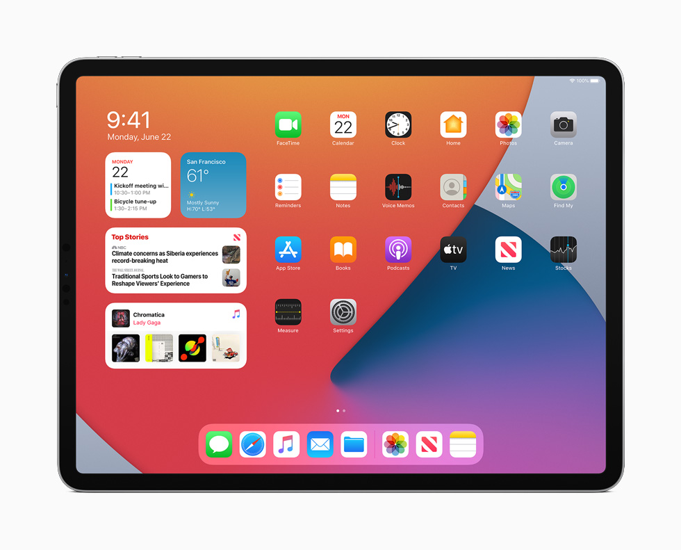 The new Home Screen in iPadOS 14 displayed on iPad Pro.