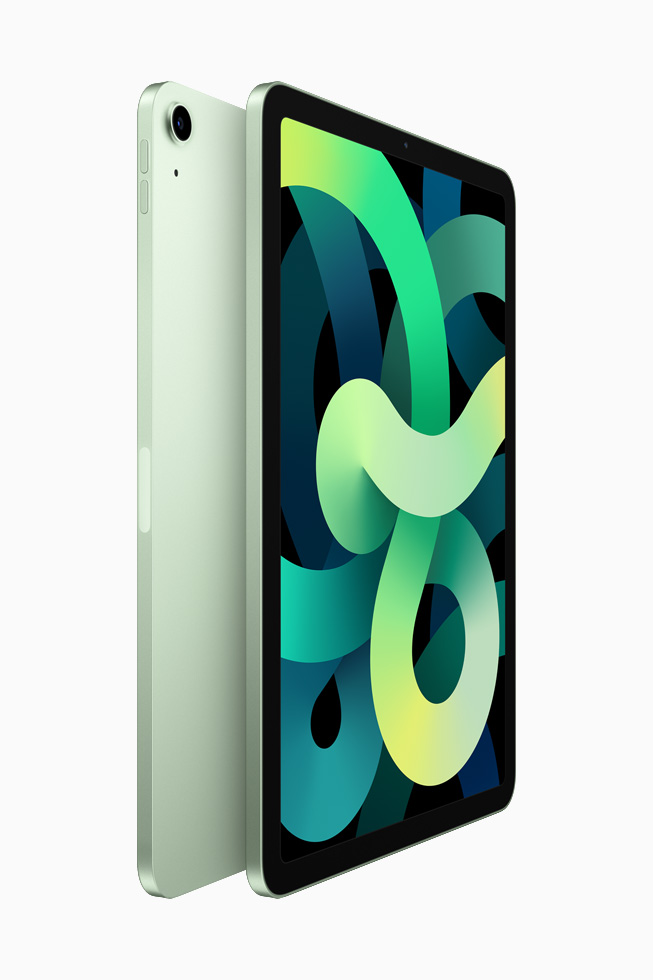 Two iPad Air back-to-back to each other in green.