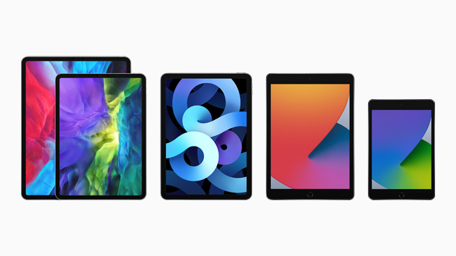 iPad lineup with iPad Pro, the eighth-generation iPad, iPad mini, and iPad Air.