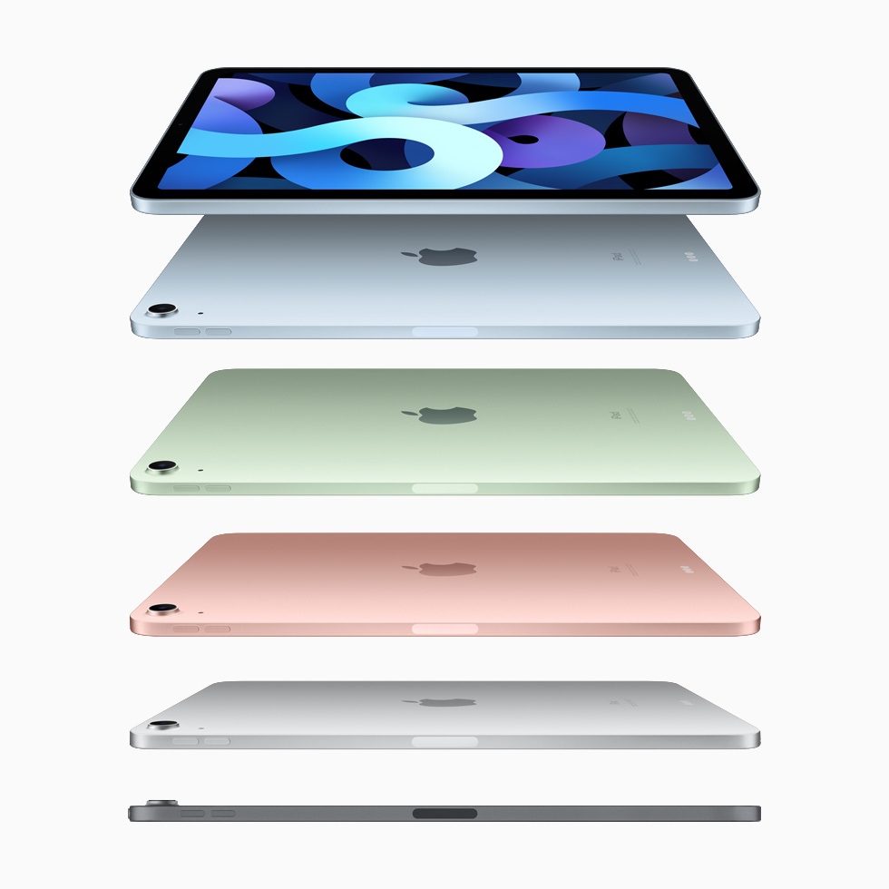 iPad Air in sky blue, green, rose gold, silver, and space gray.