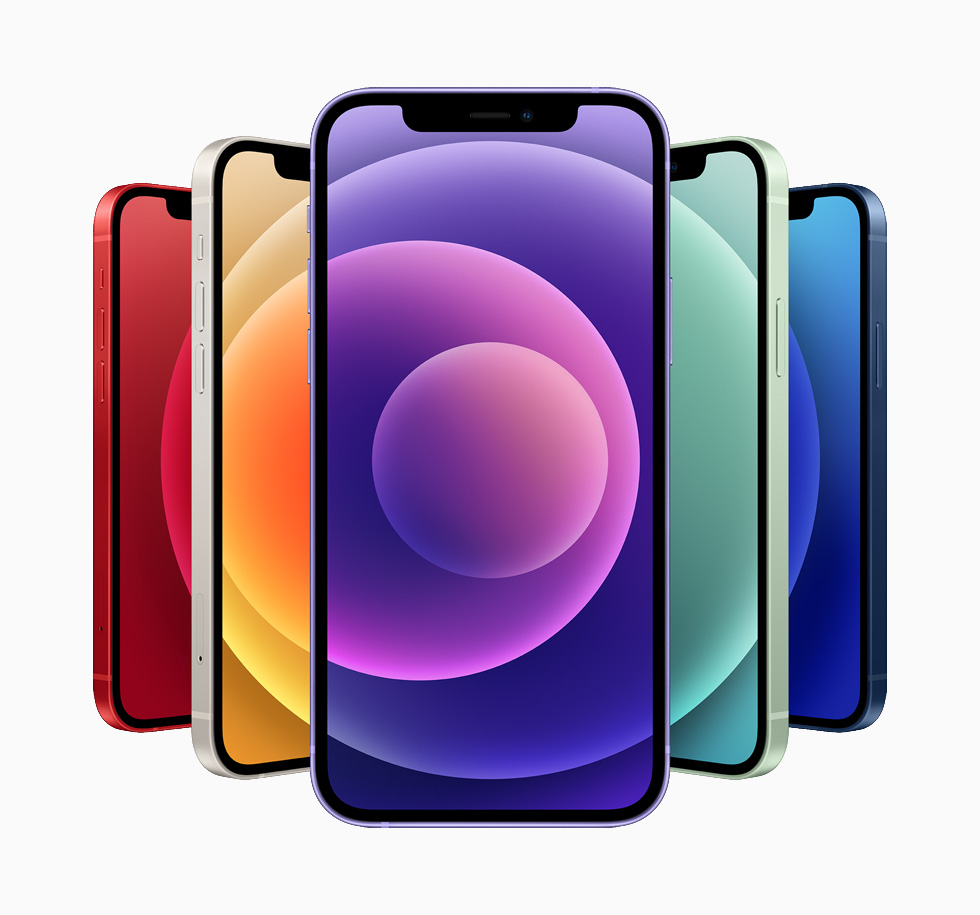 Phone 12 及 iPhone 12 mini 備有藍色、綠色、白色、(PRODUCT)RED 與紫色,可供選擇。