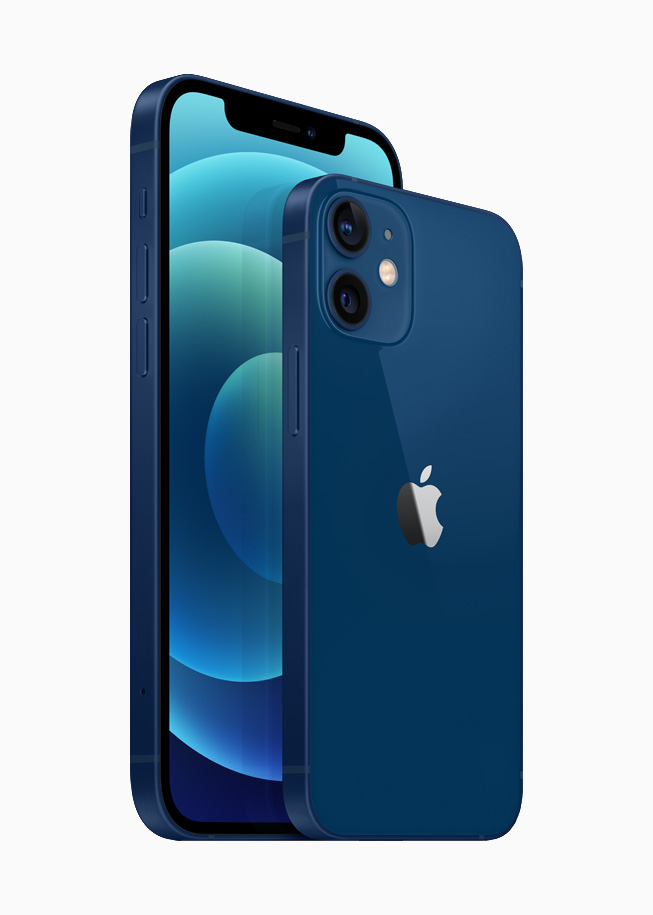 iPhone 12 and iPhone 12 mini in the blue aluminium finish.
