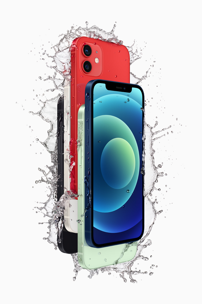 iPhone 12 in black, white, red, green, and blue, demonstrating water resistance.