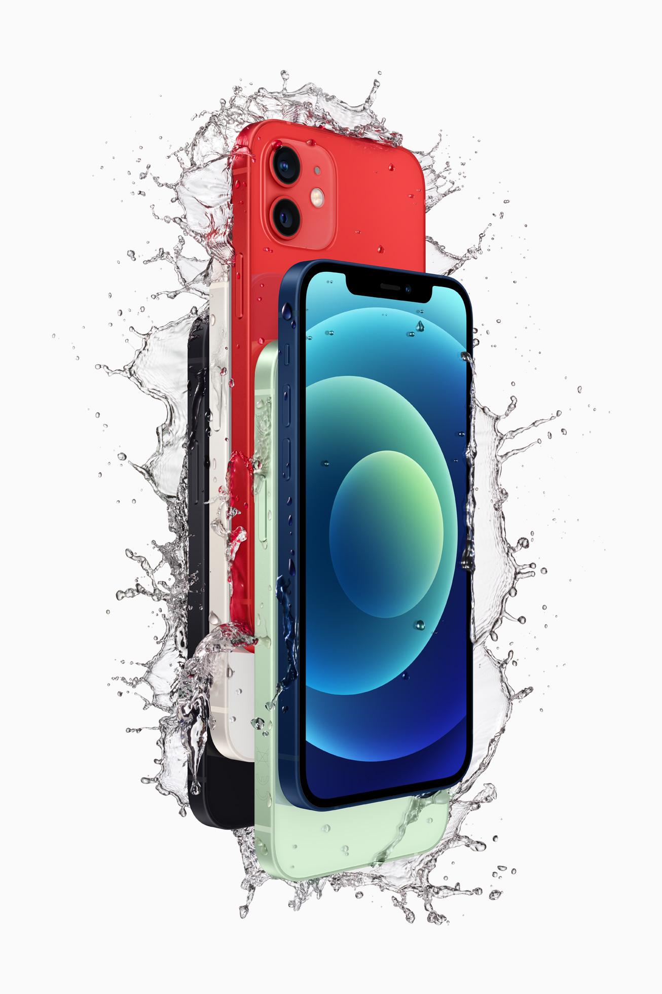 iPhone 12 具备 IP68 级防泼溅性能,可抵御日常液体的泼溅