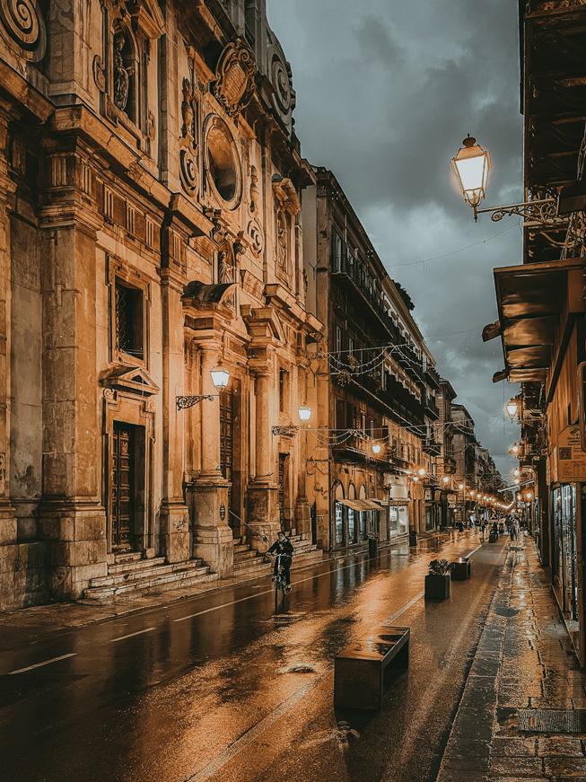 A rainy street in Italy.