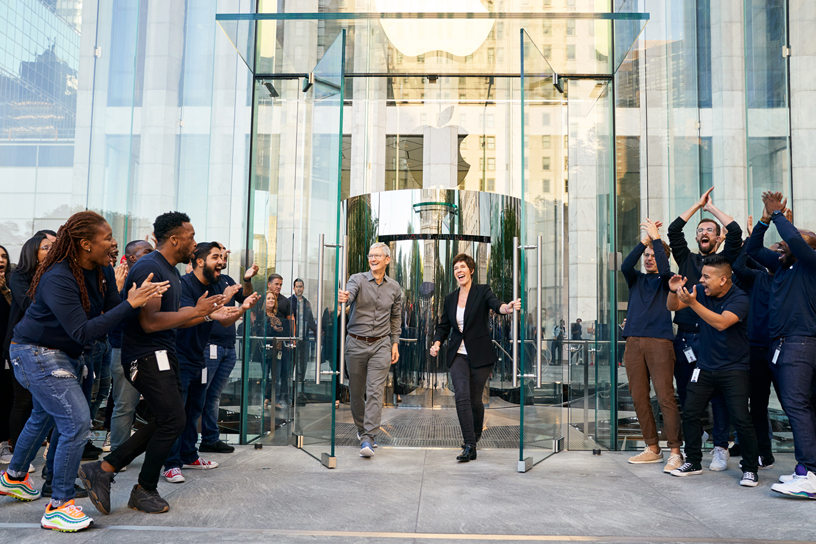 Tim Cook, Deirdre O'Brien at Apple team members at Apple Fifth Avenue.