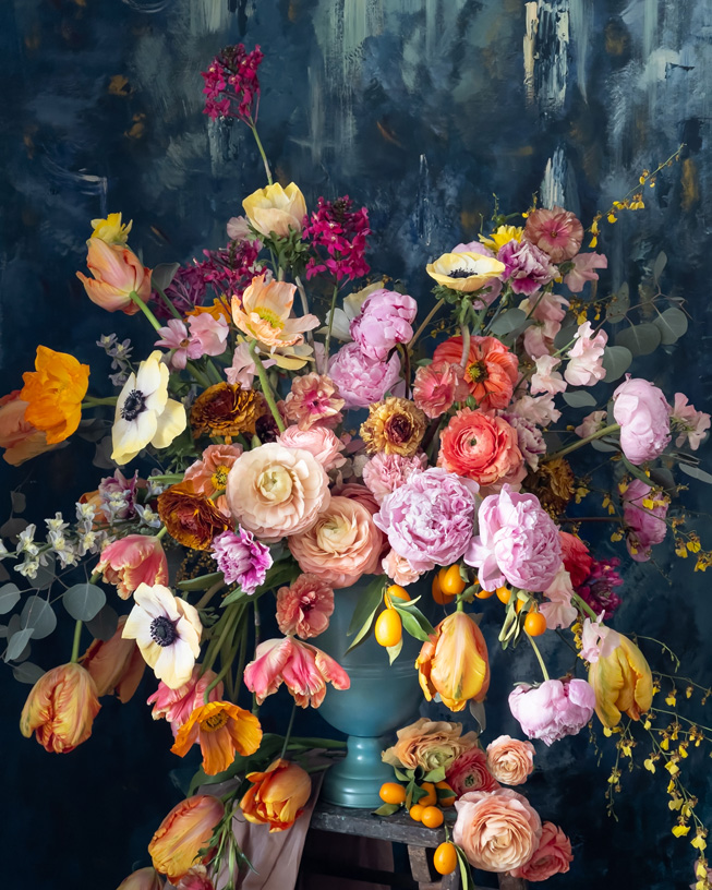 Flowers in a green vase.