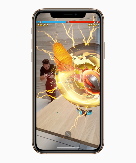 iPhone Xs showing an AR experience.