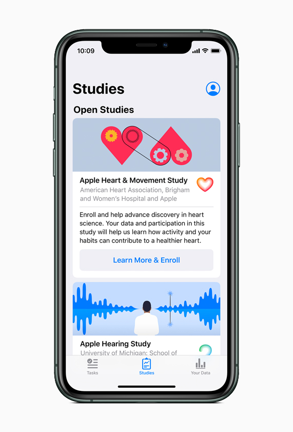 The new Research app displaying healthy study enrolment options on iPhone.