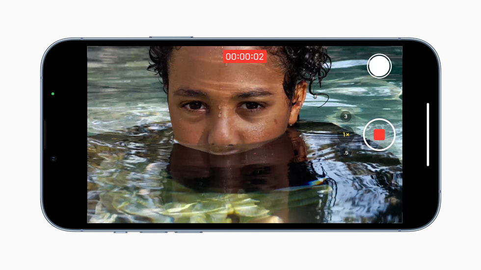 iPhone 13 Pro recording video near water using A15 Bionic's next-generation image signal processor.