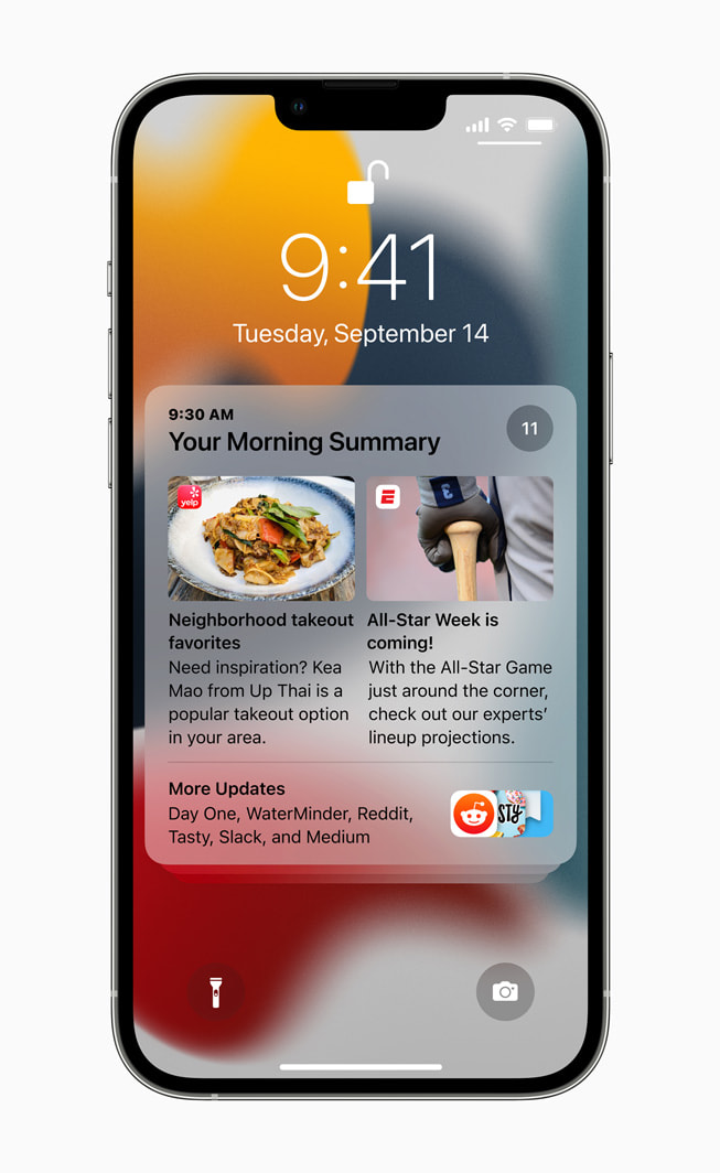 Lock Screen on iPhone 13 Pro displaying a notification summary on iOS 15.