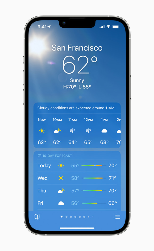 iPhone 13 Pro using the updated Weather app on iOS 15.