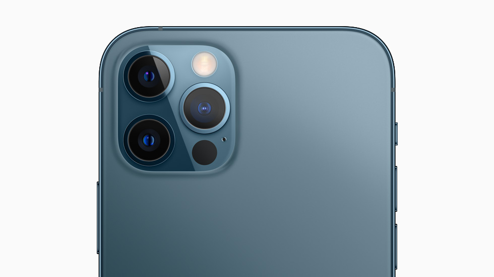 A back view of iPhone 12 Pro shows off the lenses of the device's pro camera system.
