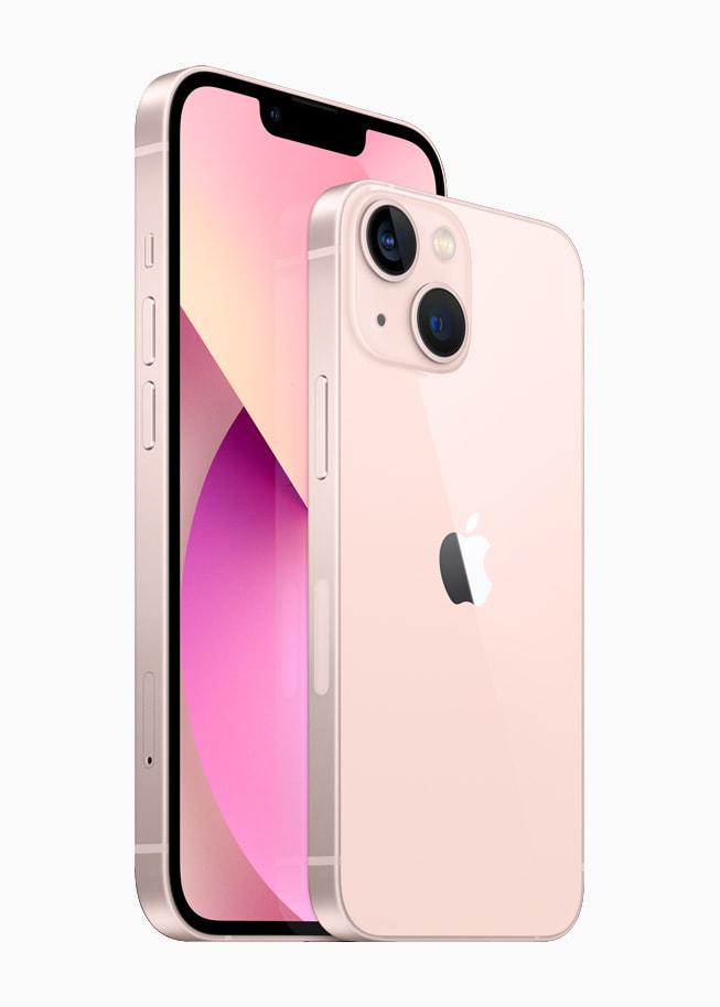 핑크 색상의 iPhone 13 및 iPhone 13 mini의 앞면과 뒷면.