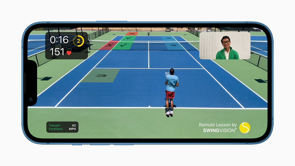 iPhone 13 with the power of A15 Bionic running the SwingVision app.