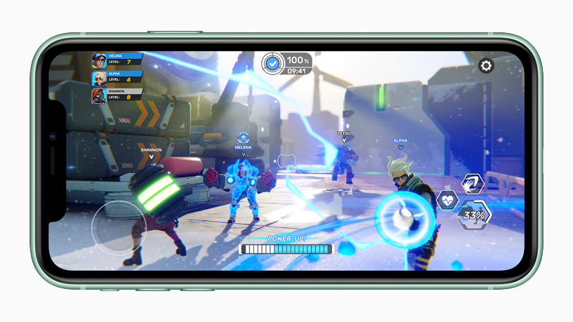 iPhone with gameplay on screen.
