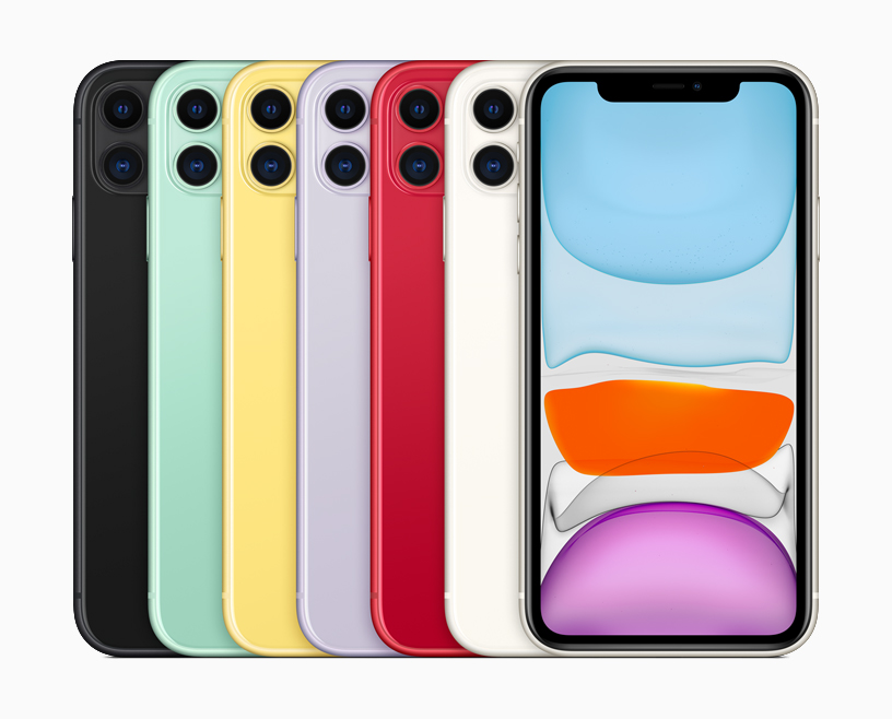 iPhone 11 in six finishes.